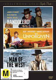 Hollywood Gold Triple Pack - Bandolero / The Unforgiven / Man of the West on DVD