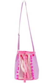 Pink Poppy: Pom Pom Party Drawstring Satchel (Lilac) image