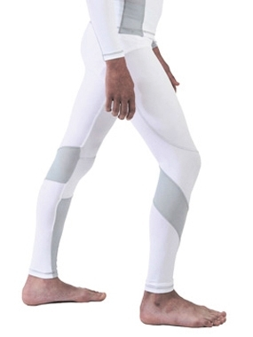 Linebreak Youth's Velocity Compression Tights - White/Silver (Small)