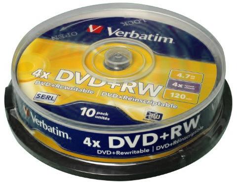 Verbatim DVD+RW 4.7GB 4x - 10 Pack