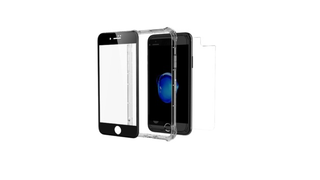 Invisible Shield Glass+ Contour 360 - Full Body with Bumper Case - Black - iPhone 7/8 Plus