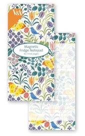Museum & Galleries: V&A Magnetic Fridge Notepad - Spring Flowers & Butterflies