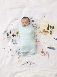 Aden + Anais: Classic Swaddle - Around The World - Map (Single) image