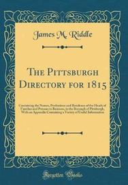 The Pittsburgh Directory, for 1815 by James M Riddle image