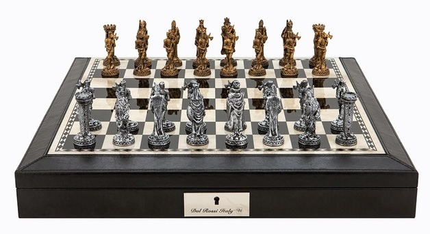 "Dal Rossi: Medieval Warriors - 18"" Pewter Chess Set (PU Black)"