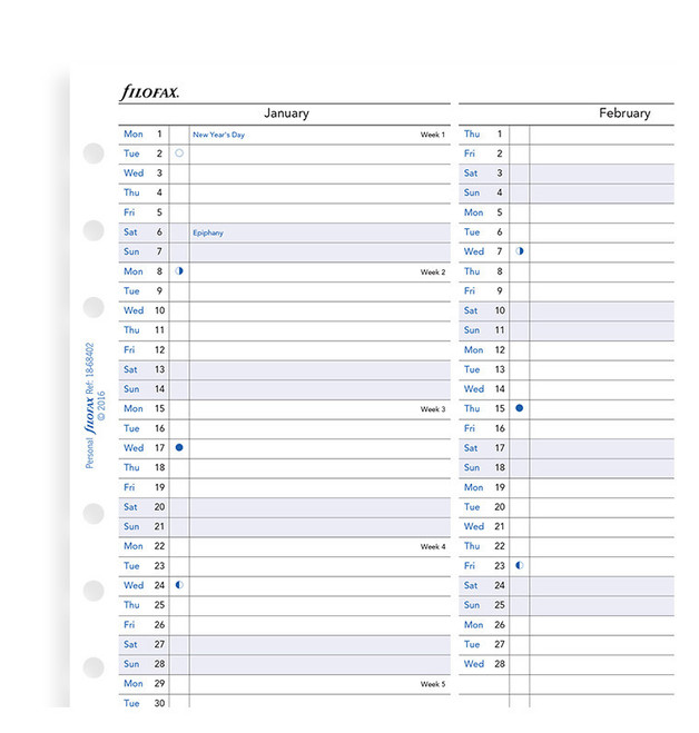 Filofax: Personal 2020 Refill - Year Planner (Vertical)