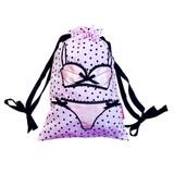 Bombay Duck: Lingerie Bag - Spotty Black/Pale Pink