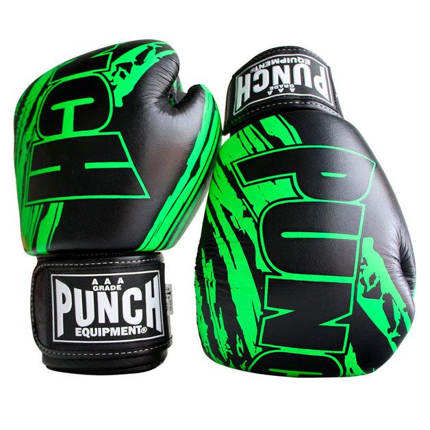 Punch: Fancy Kickboxing Gloves - 16.oz (Black/Green)