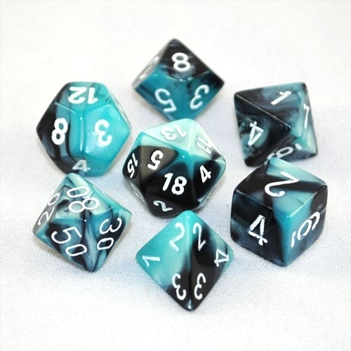 Chessex Gemini Polyhedral Dice Set Black-Shell/White