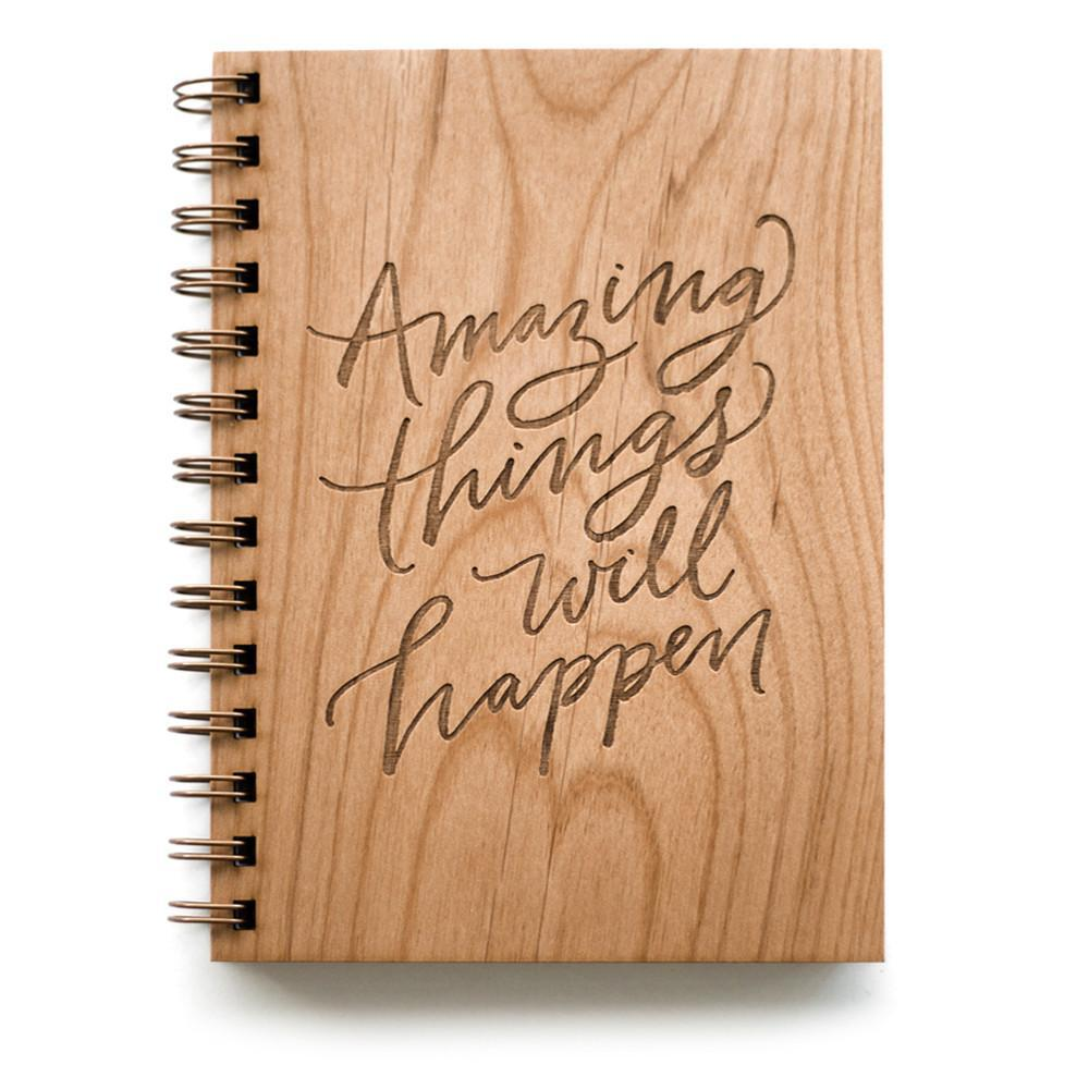 Cardtorial Wooden Journal - Amazing Things Will Happen image