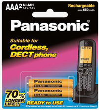 Panasonic Cordless DECT AAA 650mAh Rechargeable Batteries - 2 Pack