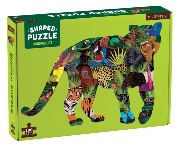 Mudpuppy: 300-Piece Shaped Scene Puzzle - Rainforest