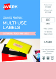 Avery L7264 Multi-Use Labels - Peach (10 Sheets/80 Labels)