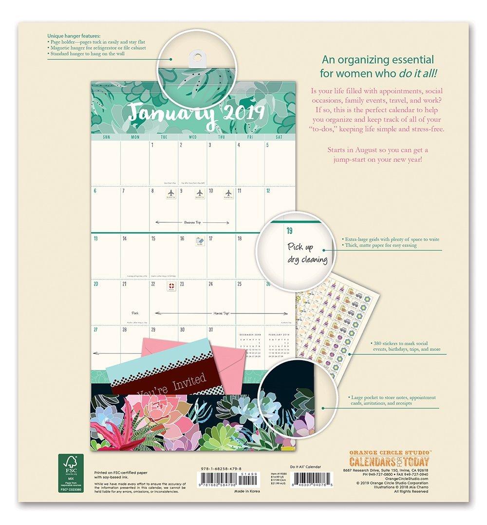 Do It All: Succulent 17 Month 2019 Wall Calendar image