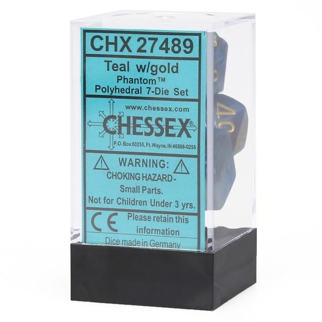 Chessex: Phantom Polyhedral Dice Set - Teal/Gold
