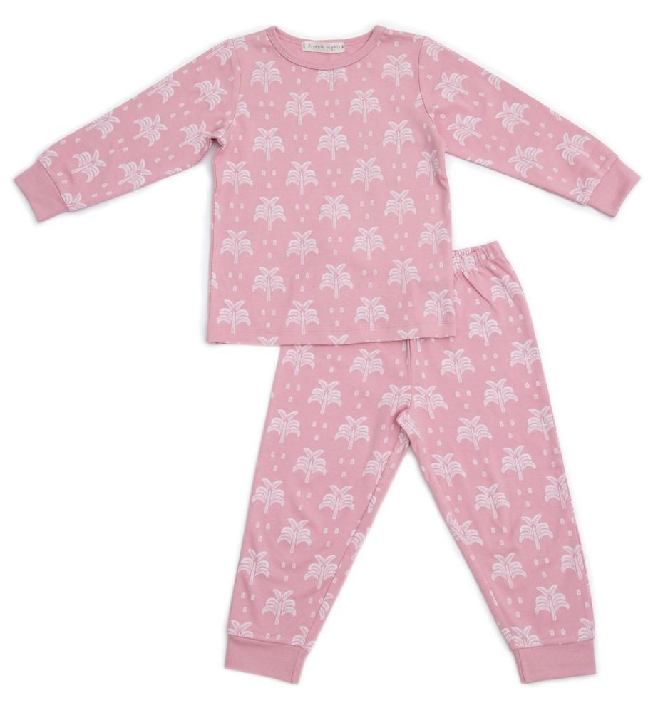 Organic Nights: Blush Pink Childrens Long Sleeve/Long Pants Pyjama Set - 8-9 years image