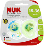 NUK: Glow in the Dark Soother - Hedgehog/Leaves 18-36 Months (2 Pack)