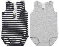Bonds Wonderbodies Singletsuit 2 Pack - Solar System/Grey (6-12 Months)