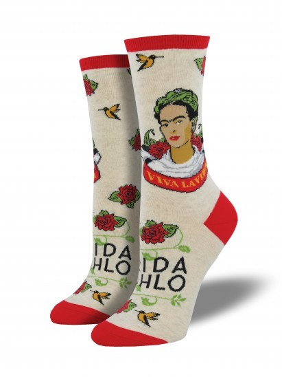 Socksmith: Women's Viva La Frida Crew Socks - Heather Ivory
