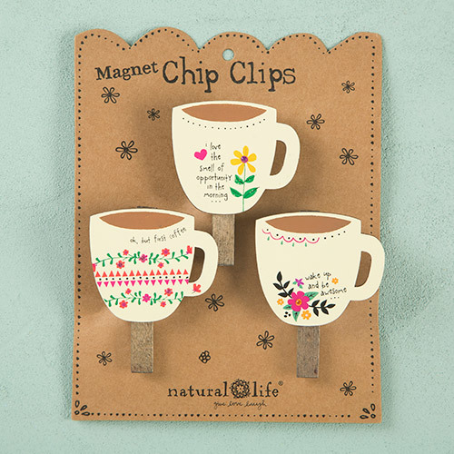 Natural Life: Set of 3 Magnet Chip Clips - Coffee