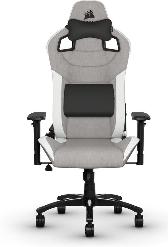 Corsair T3 RUSH Fabric Gaming Chair - Grey & White for
