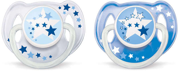 Philips Avent 6m+ Night Time Soother - Blue (2 Pack)