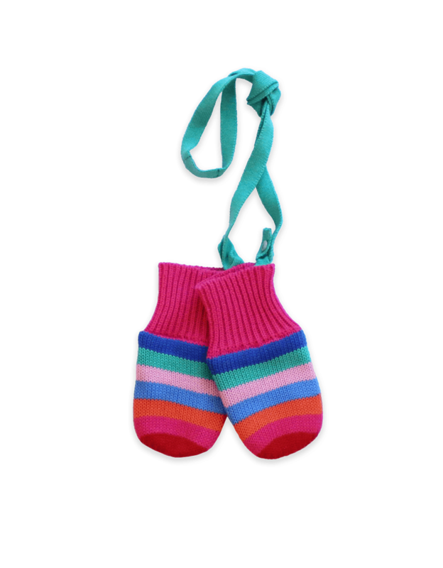 Toby Tiger: Girly Stripe Knitted Mittens (XL/4-6y)