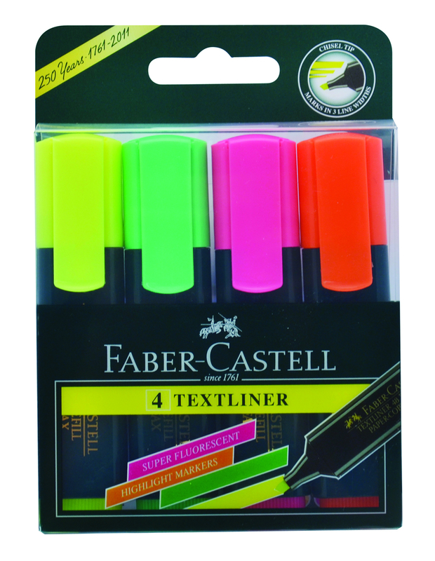 Faber-Castell: Textliner Highlighters - Assorted Colours (Wallet of 4)