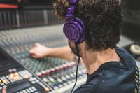 Audio Technica M50X Bluetooth Studio Headphones Purple