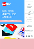 Avery L7261 Multi-Use Labels - Peach (10 Sheets/160 Labels)