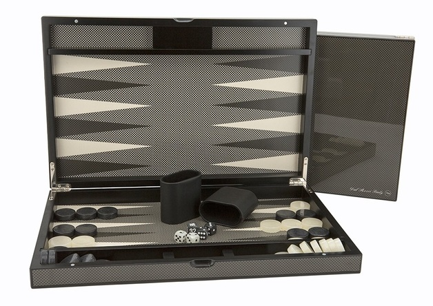 "Dal Rossi: Carbon Fibre Finish - Backgammon Set (15"")"