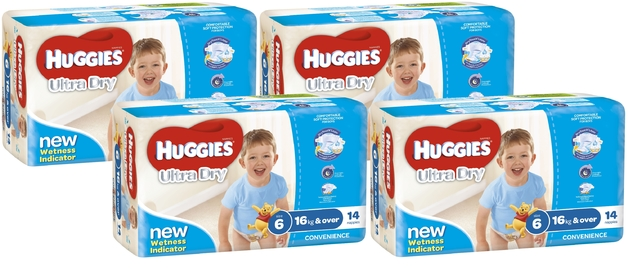 Huggies Ultra Dry Nappies Convenience Value Box - Size 6 Junior Boy (56)