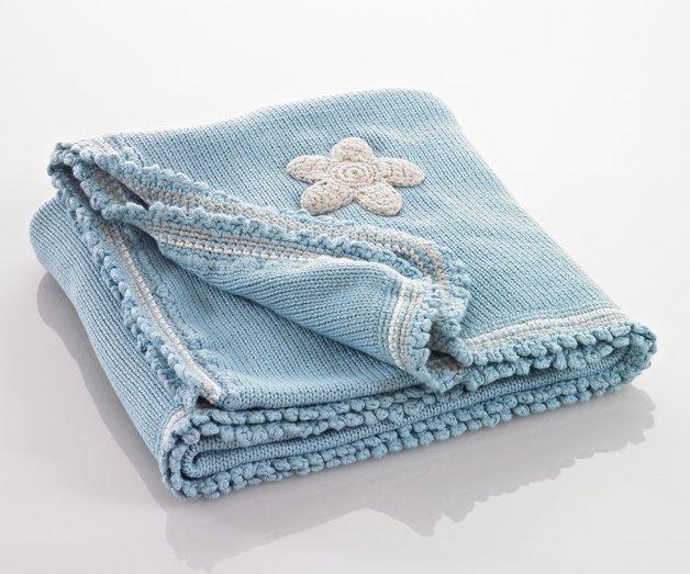 Pebble: Organic Crochet Edge Blanket - Duck Egg Blue