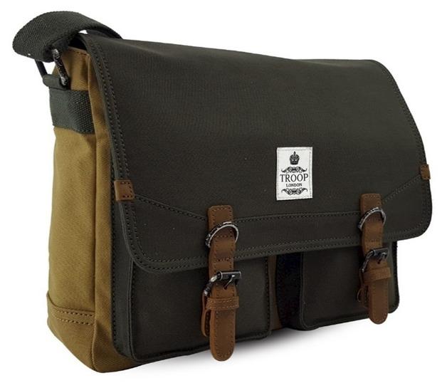 Troop London: Rutherford Messenger Bag - Camel & Green   at