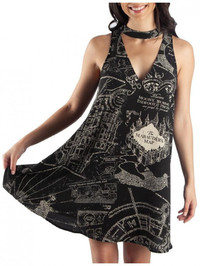 Harry Potter Marauders Map Sleeveless Choker V Neck Dress: S