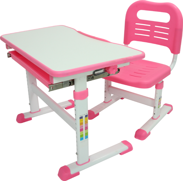 Gorilla Office: Kids Height Adjustable Desk with Chair - Pink
