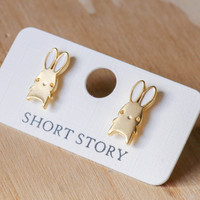 Short Story: Funky Play Earrings - Gold Bunny