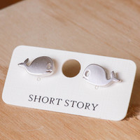 Short Story: Funky Play Earrings - Silver Whale