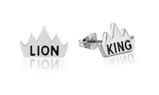 Couture Kingdom: Disney The Lion King Crown Stud Earrings - White Gold