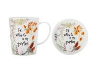 Maxwell & Williams Royal Botanic Garden Green Thumb Mug & Coaster - Garden (400ML)