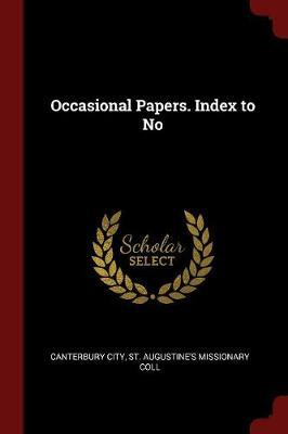 Occasional Papers. Index to No