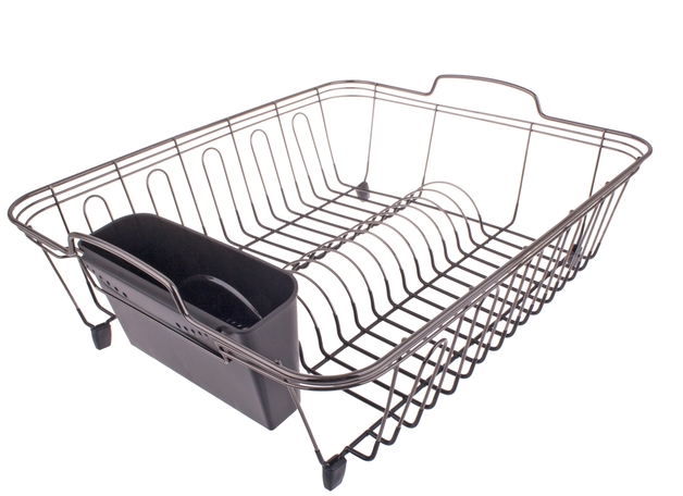Black Nickel/Pvc Dish Rack 45.5 X 36 X 16.5cm