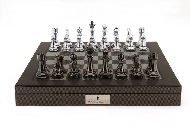 "Dal Rossi: Lockable Chess Set - 20"" Game Board (Carbon Fibre)"