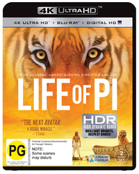 Life of Pi on Blu-ray, UHD Blu-ray, UV