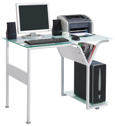 Croxley Tempered Glass Top Desk (White) image