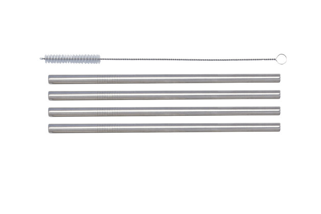 Cuisena: SS Smoothie/Milkshake Thick Straws & Brush (Set/4)