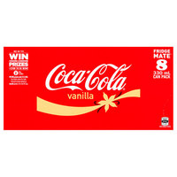 Vanilla Coke Soft Drink Cans - 8 Pack (330ml) image