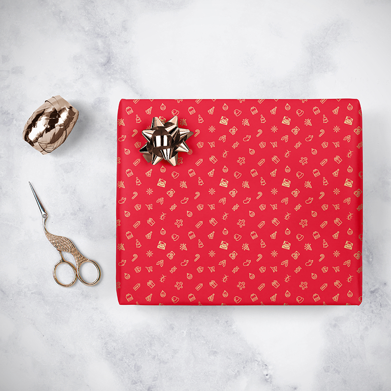 Gorilla Gift: Wrapping Paper - Christmas Red image