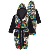 Batman Comic Strip Hooded Fleece Robe - Black (Adult One Size)
