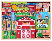 ArchiQuest - Wooden Farm Blocks & Storybook Playset